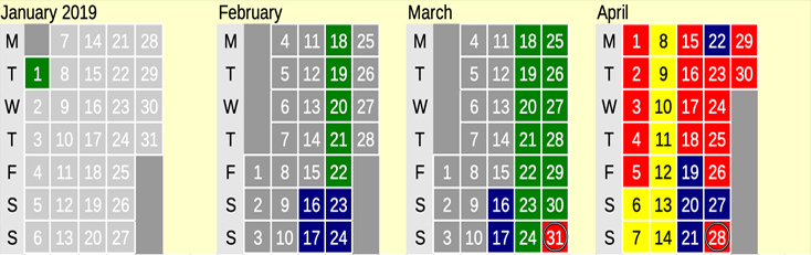 Click on coloured date for Train Timetable